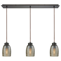 Bowery + Grove 50212-ORCS Blooming Grove 3 Light 36 inch Oil Rubbed Bronze Mini Pendant Ceiling Light in Linear Linear