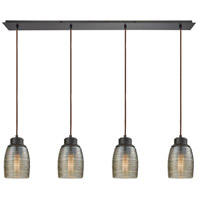 Bowery + Grove 50213-ORCS Blooming Grove 4 Light 46 inch Oil Rubbed Bronze Mini Pendant Ceiling Light in Linear Linear
