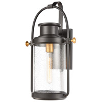 Bowery + Grove 50220-MBSI Ash Creek 1 Light 19 inch Matte Black/Brushed Brass Outdoor Sconce