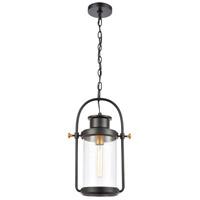 Bowery + Grove 50221-MBSI Ash Creek 1 Light 12 inch Matte Black/Brushed Brass Outdoor Hanging Light