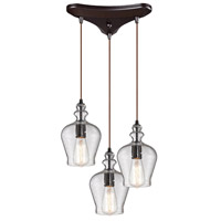 Bowery + Grove 50233-ORS Graham Pl 3 Light 10 inch Oil Rubbed Bronze Mini Pendant Ceiling Light in Triangular Canopy Triangular