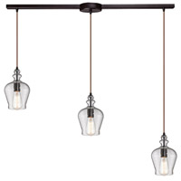 Bowery + Grove 50234-ORS Graham Pl 3 Light 36 inch Oil Rubbed Bronze Mini Pendant Ceiling Light in Linear with Recessed Adapter Linear