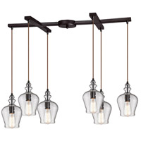 Bowery + Grove 50235-ORS Graham Pl 6 Light 33 inch Oil Rubbed Bronze Mini Pendant Ceiling Light in Light Bar H-Bar
