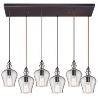 Bowery + Grove 50236-ORS Graham Pl 6 Light 30 inch Oil Rubbed Bronze Mini Pendant Ceiling Light in Rectangular Canopy Rectangular