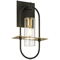 Bowery + Grove 55211-DBCI Nouvel 1 Light 14 inch Dark Bronze with Brushed Brass Outdoor Wall Sconce