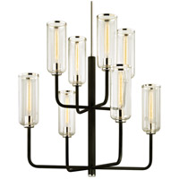 Bowery + Grove 58917-CBCI Ercolano 8 Light 37 inch Carbide Black with Polished Nickel Chandelier Ceiling Light