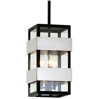 Bowery + Grove 55226-TBCI Glenhurst Ave 3 Light 8 inch Textured Black with Brushed Stainless Steel Outdoor Pendant