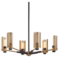 Bowery + Grove 55289-MBI Michael 6 Light 30 inch Modern Bronze and Aged Brass Chandelier Ceiling Light