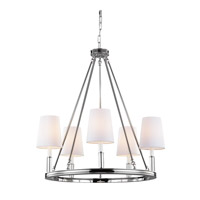Bowery + Grove 50854-PN Golly 5 Light 28 inch Polished Nickel Chandelier Ceiling Light