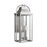 Bowery + Grove 51217-PBCG Nolan 3 Light 23 inch Painted Brushed Steel Outdoor Wall Lantern