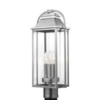 Bowery + Grove 51220-PBCG Nolan 3 Light 21 inch Painted Brushed Steel Outdoor Post Lantern