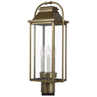 Bowery + Grove 58466-PDC Nolan 3 Light 21 inch Painted Distressed Brass Post Lantern