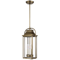 Bowery + Grove 58469-PDC Nolan 3 Light 9 inch Painted Distressed Brass Outdoor Pendant Lantern