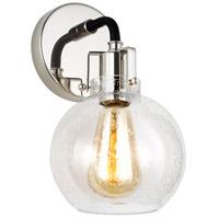 Bowery + Grove 53428-PNCS Elgin 1 Light 6 inch Polished Nickel / Textured Black Wall Bath Fixture Wall Light
