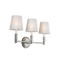Bowery + Grove 50852-PN Golly 3 Light 24 inch Polished Nickel Vanity Strip Wall Light in White Fabric