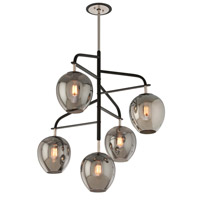 Bowery + Grove 51428-CB Newland 5 Light 36 inch Carbide Black and Polished Nickel Pendant Ceiling Light