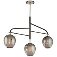Bowery + Grove 51429-CB Newland 3 Light 44 inch Carbide Black and Polished Nickel Island Pendant Ceiling Light