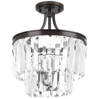 Bowery + Grove 53326-ABC Palermo 3 Light 13 inch Antique Bronze Semi-Flush Convertible Pendant Ceiling Light Design Series
