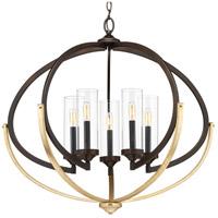 Bowery + Grove 53230-ABCI Orna 5 Light 34 inch Antique Bronze Chandelier Ceiling Light Design Series
