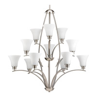 Bowery + Grove 51526-BNE Athy 12 Light 38 inch Brushed Nickel Chandelier Ceiling Light in Etched