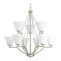 Bowery + Grove 51480-BNE Annette St 9 Light 32 inch Brushed Nickel Chandelier Ceiling Light in Etched