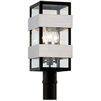 Bowery + Grove 53061-TBCI Glenhurst Ave 3 Light 18 inch Textured Black with Brushed Stainless Steel Post Lantern