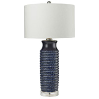 Bowery + Grove 54452-CB Bassett 30 inch 150 watt Clear/Navy Blue Table Lamp Portable Light in Incandescent 3-Way