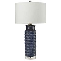 Bowery + Grove 54452-CB Bassett 30 inch 150 watt Clear/Navy Blue Table Lamp Portable Light in Incandescent 3-Way