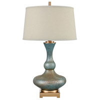 Bowery + Grove 54467-CBSG Goldenrod Pl 30 inch 150 watt Cafe Bronze/Shoreline Green Art Glass Table Lamp Portable Light