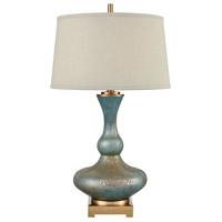 Bowery + Grove 54467-CBSG Goldenrod Pl 30 inch 150 watt Cafe Bronze/Shoreline Green Art Glass Table Lamp Portable Light
