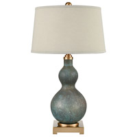 Bowery + Grove 54501-CBSG Goldenrod Pl 30 inch 150 watt Cafe Bronze/Shoreline Green Art Glass Table Lamp Portable Light