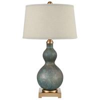 Bowery + Grove 54501-CBSG Goldenrod Pl 30 inch 150 watt Cafe Bronze/Shoreline Green Art Glass Table Lamp Portable Light
