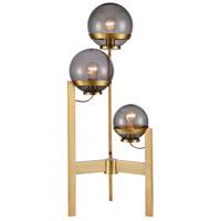 Bowery + Grove 54420-ABS David 36 inch 60 watt Antique Brass/Smoked Glass Table Lamp Portable Light