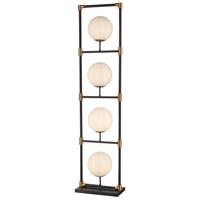 Bowery + Grove 54580-MBW Canterbury 59 inch 40 watt Matte Black/Aged Brass/White Floor Lamp Portable Light