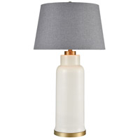 Bowery + Grove 54445-SWSW Monterey 35 inch 150 watt Solid White Glass/Matte Brushed Gold Table Lamp Portable Light
