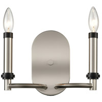 Bowery + Grove 54612-SN Bedias 2 Light 11 inch Satin Nickel/Matte Black Sconce Wall Light