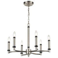 Bowery + Grove 54645-SN Bedias 6 Light 23 inch Satin Nickel/Matte Black Chandelier Ceiling Light