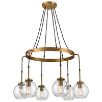 Bowery + Grove 54741-AB Engle 6 Light 33 inch Aged Brass Chandelier Ceiling Light Medium