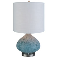 Bright Blue Linen Table Lamps