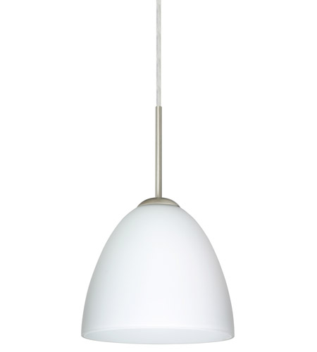 Besa Lighting 1JT-447007-SN Vila 1 Light Satin Nickel Pendant Ceiling Light in Opal Matte Glass, Incandescent photo