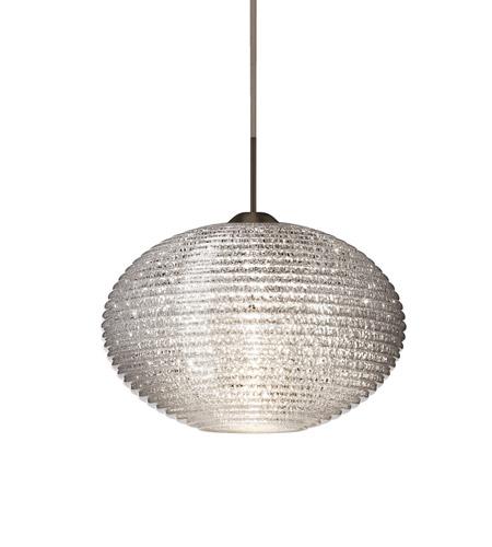 Besa Lighting 1jt 4913gl Led Br Pape Bronze Pendant Ceiling Light In Glitter Gl