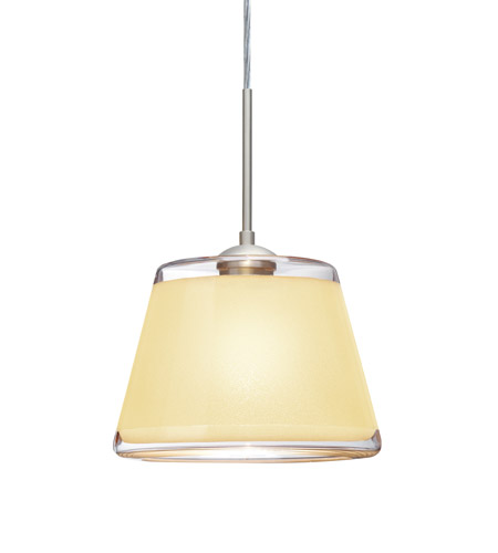 Besa Lighting 1JT-PIC9CR-SN Pica 1 Light Satin Nickel Pendant Ceiling Light in Creme Sand Glass, Incandescent photo