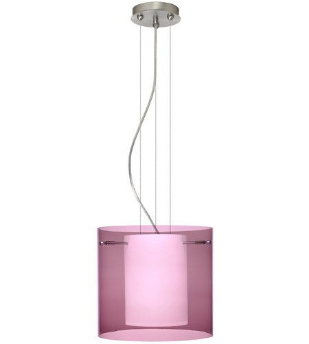 Besa Lighting 1KG-A18407-LED-SN Pahu LED Satin Nickel Pendant Ceiling Light in Transparent Amethyst/Opal Glass photo thumbnail