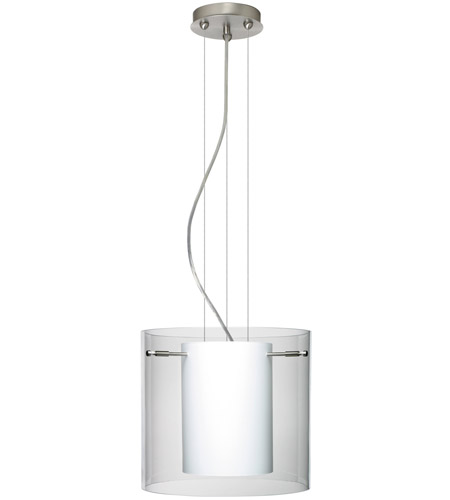 Besa Lighting 1KG-C18407-LED-SN Pahu LED Satin Nickel Pendant Ceiling Light in Clear/Opal Glass photo thumbnail
