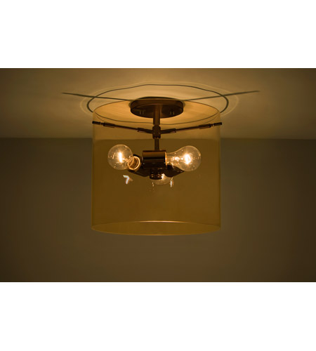 Besa Lighting 1km G18407 Br Ni Pahu 3 Light 12 Inch Bronze Semi Flush Mount Ceiling In Incandescent Transpa Armagnac Gl