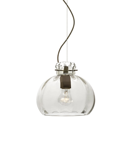 Besa Lighting 1kx 464488 Br Pinta 1 Light Bronze Pendant Ceiling In Clear Gl