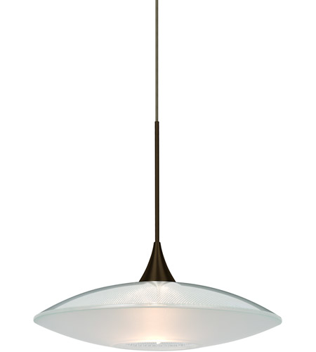 Besa Lighting 1xt 6294cl Led Br Spazio Bronze Cord Pendant Ceiling Light In Clear Frost Gl