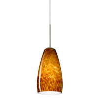 Chrissy 1 Light Satin Nickel Pendant Ceiling Light in Amber Cloud Glass