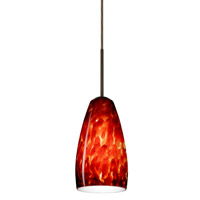 Besa Lighting 1BT-150941-BR Chrissy 1 Light Bronze Pendant Ceiling Light in Garnet Glass