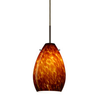 Pera 1 Light Bronze Pendant Ceiling Light in Amber Cloud Glass
